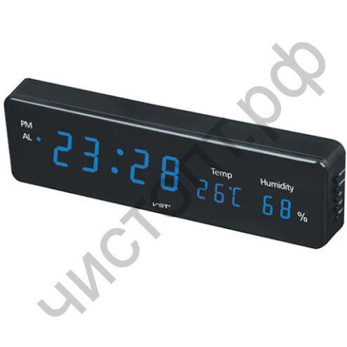 Часы  эл. сетев. VST805S-5 син.цифры (температура, влажность) ( 30 х 8,5 х 3,5 см)