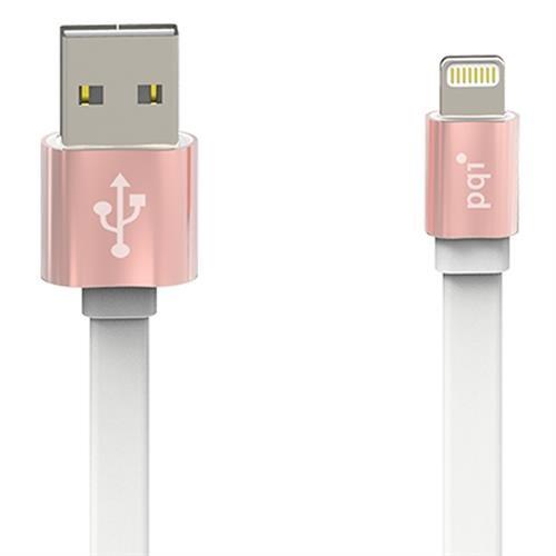 Кабель c Lightning 100см PQI i-Cable Mesh на USB розово-золотой устойчив к изгибанию