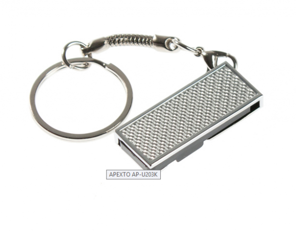 16GB USB-флэш накопитель Apexto U203K металлический раскладной, серебряный