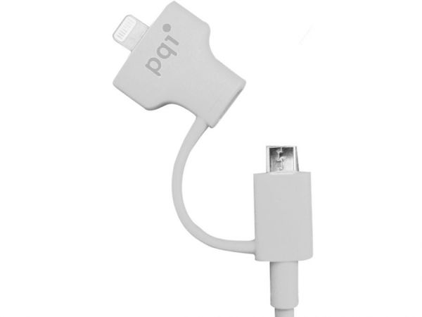 Кабель на Lightning/mUSB 90см PQI (made for iPhone,iPad, iPod) белый до 40В