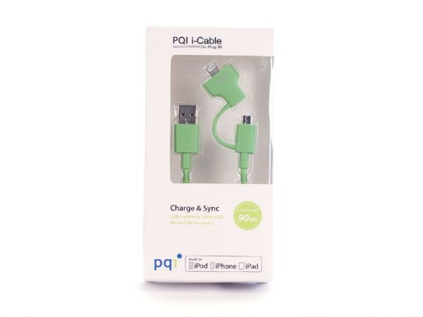Переходник с USB на Lightning/mUSB 90см PQI (made for iPhone,iPad, iPod) зеленый
