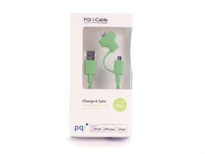Кабель на Lightning/mUSB 90см PQI (made for iPhone,iPad, iPod) зеленый