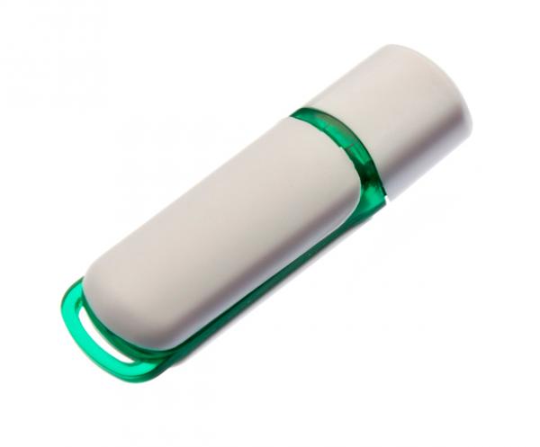 8GB USB-флэш накопитель UsbSouvenir 235, белая-зеленая с колпачком петуха