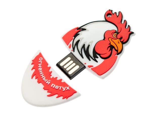 16GB USB2.0 флеш накопитель UsbSouvenir Сувенирная флэшка огненный петух из резины красный