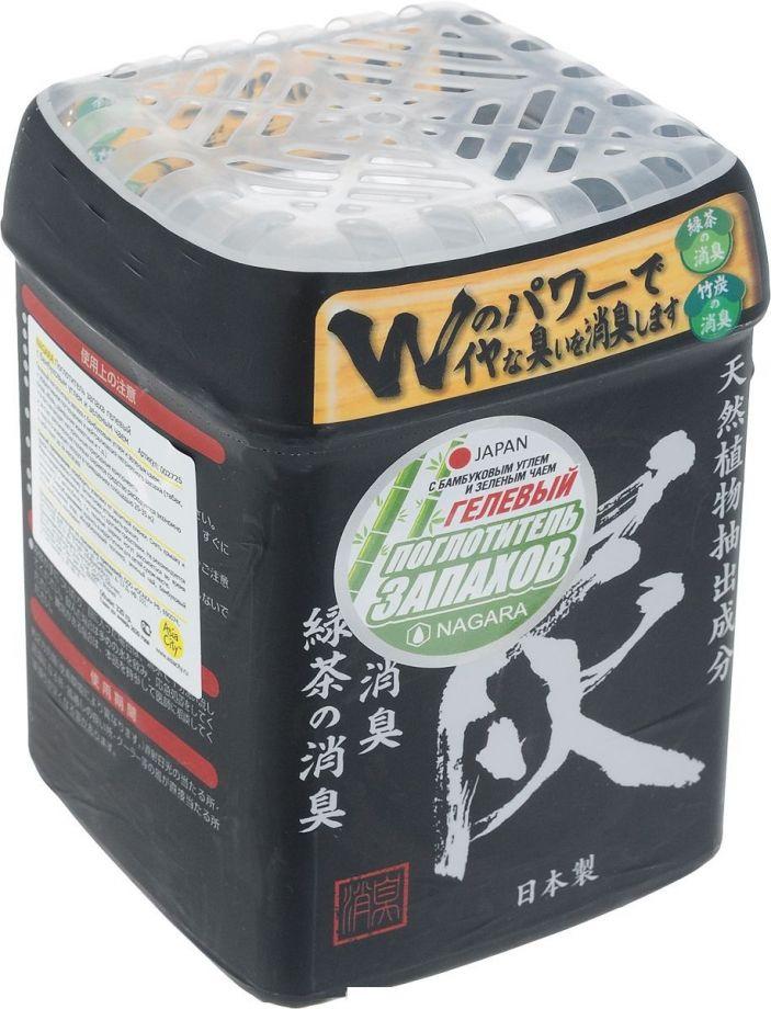 Nagara Поглотитель запаха гелевый с бамбуковым углем и зеленым чаем, 360 г