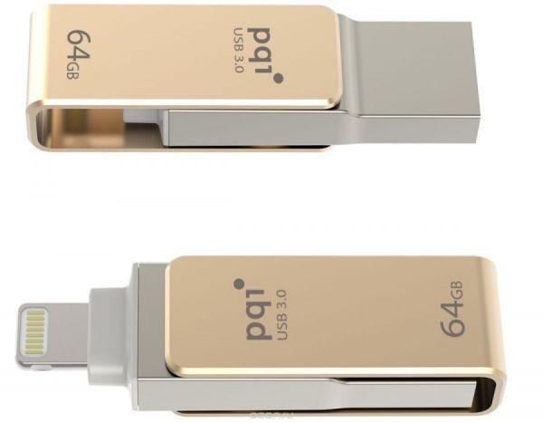 USB-накопитель PQI для Apple 64GB Золотой iConnect mini 002