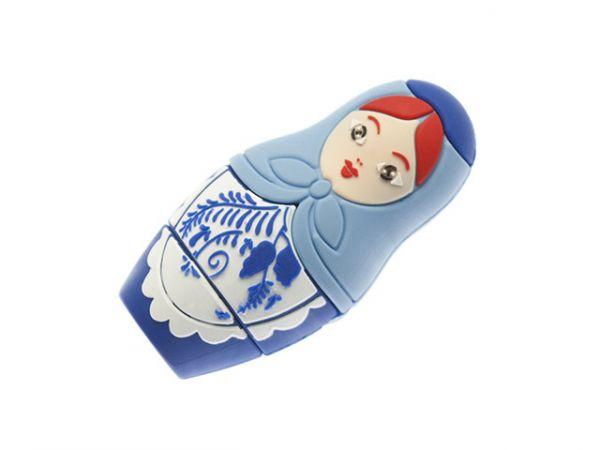 8GB USB2.0 флеш накопитель UsbSouvenir Сувенирная флэшка Матрёшка из резины, гжель, упакова тубус