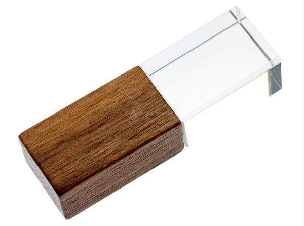 16GB USB-флэш корпус для Apexto UL-5043wide стеклянный, дерево темное, синий светодиод