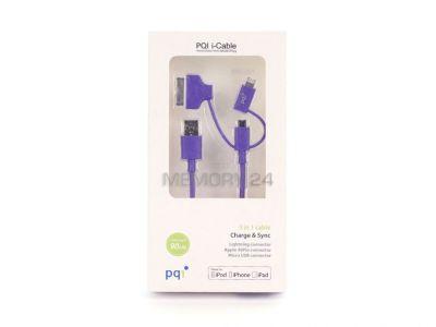 Кабель на Lightning/mUSB/30 pin (M) 90см PQI Multi Plug (made for iPhone,iPad, iPod) пурпурный