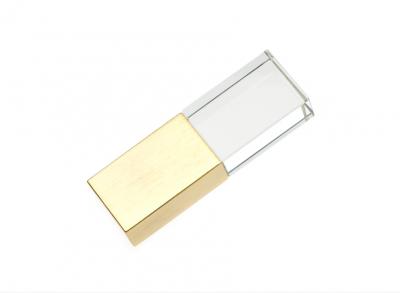 64GB USB3.0-флэш накопитель Apexto UG-003 стеклянный, синий LED золотой колпачек