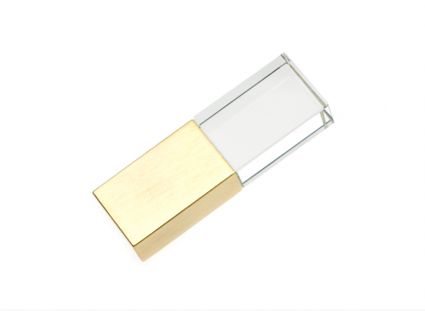 32GB USB3.0-флэш накопитель Apexto UG-003 стеклянный, синий LED золотой колпачек