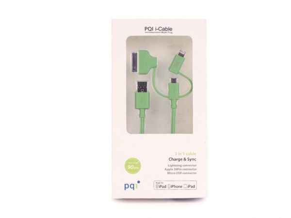Переходник с USB на Lightning/mUSB/30 pin (M) 90см PQI Multi Plug (made for iPhone,iPad, iPod) зелен