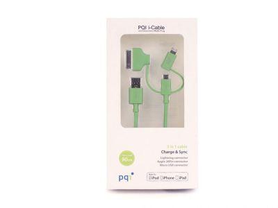 Кабель на Lightning/mUSB/30 pin (M) 90см PQI Multi Plug (made for iPhone,iPad, iPod) зеленый