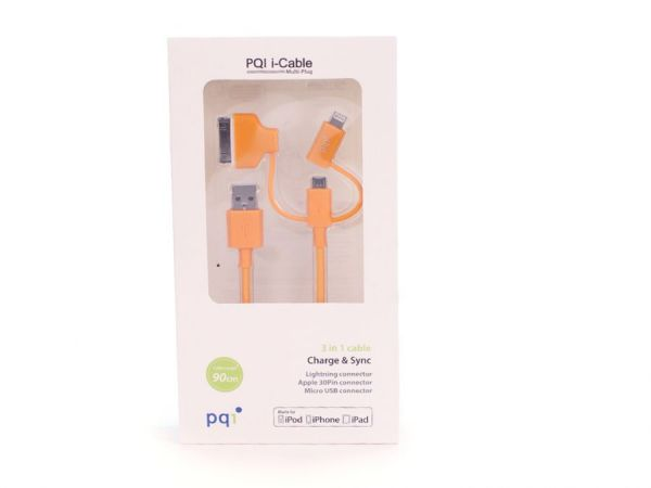 Переходник с USB на Lightning/mUSB/30 pin (M) 90см PQI Multi Plug (made for iPhone,iPad, iPod) оранж