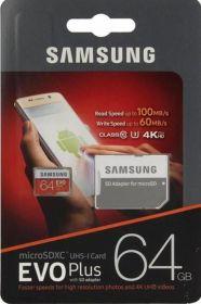 Карта памяти SAMSUNG EVO plus 64 Gb MicroSDHC Class 10 до 100Mb/s