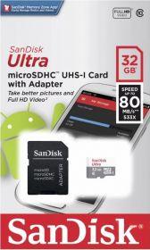 Карта памяти Sandisk 32Gb Ultra MicroSDHC UHS-I Class 10 до 80Mb/s с адаптером