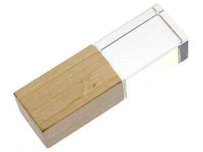 32GB USB-флэш накопитель Apexto UL-5033wide сстеклянный, дерево светлое, бамбук, синий LED