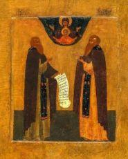 Икона Зосима и Савватий Соловецкие (копия старинной)