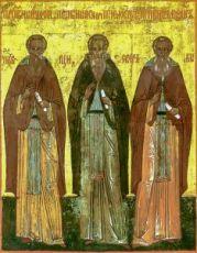 Икона Зосима, Савватий Соловецкие и Александр Свирский (копия старинной)