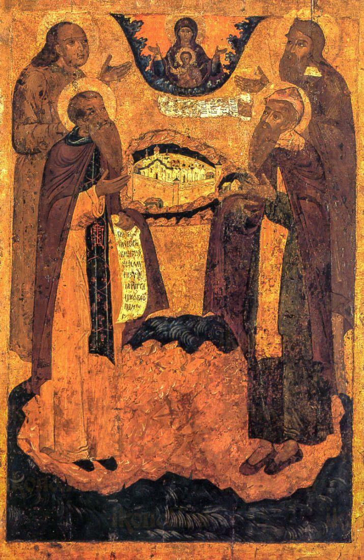 Икона Зосима и Савватий, Иоанн Большой Колпак и Илия Пророк (копия старинной)