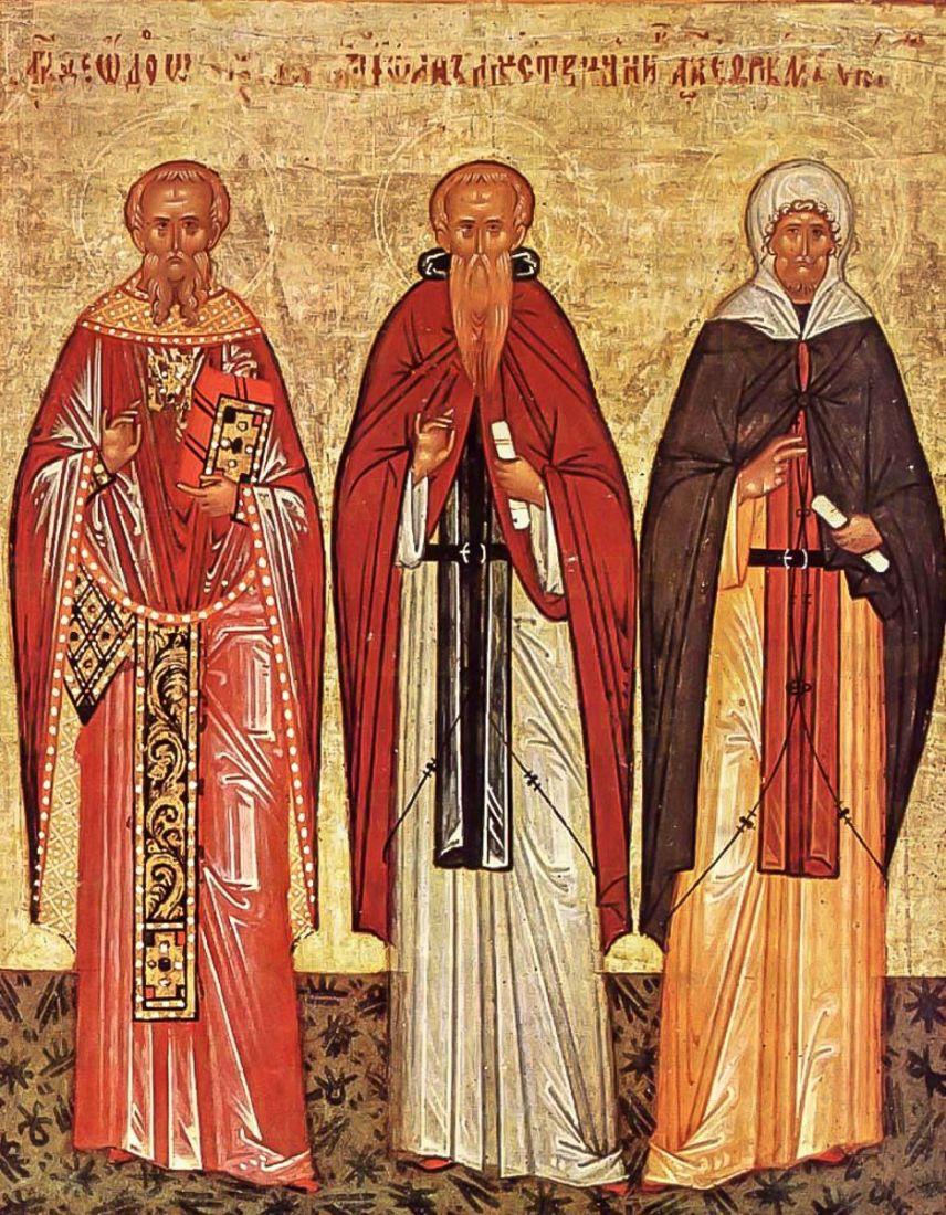 Икона Феодор Студит, Феодосий Великий, Ефрем Сирин (копия 15 века)