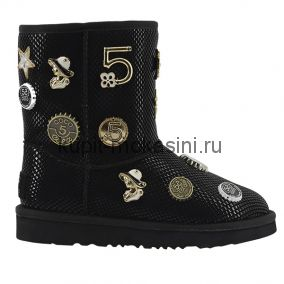 Jimmy Choo Coco Chanel 5th Avenue Black - Угги Джимми Чу со значками Черные