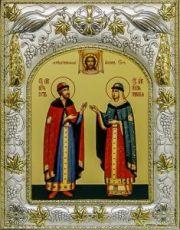 Петр и Феврония (14х18), серебро