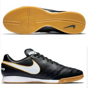 Футзалки Nike Tiempo Genio II Leather IC чёрные