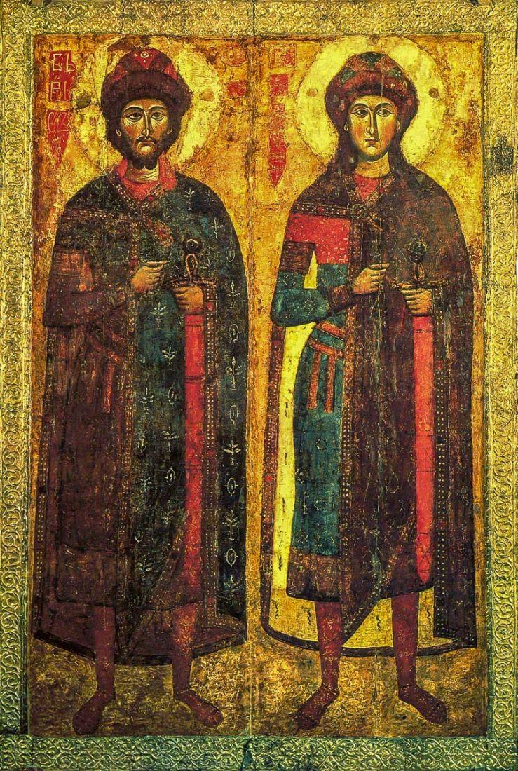 Икона Борис и Глеб (копия старинной)