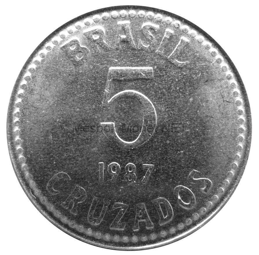 Бразилия 5 крузадо 1987 г.