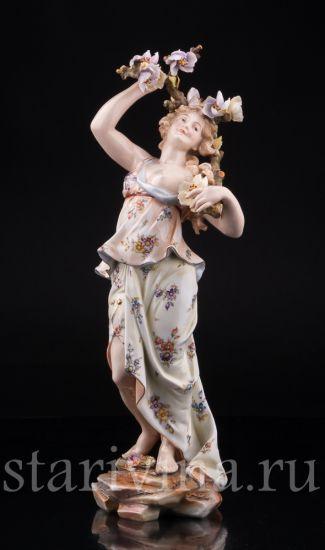 Изображение Девушка с цветущей ветвью, аллегория Весны, Volkstedt, Германия, 19 в