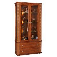 Шкаф с витриной ТУНИС  П343.20Ш рустикаль+золото