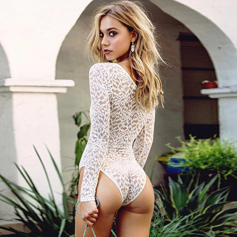 Black White Lace Bodysuits Body Backless Long Sleeve Skinny Sexy Rompe