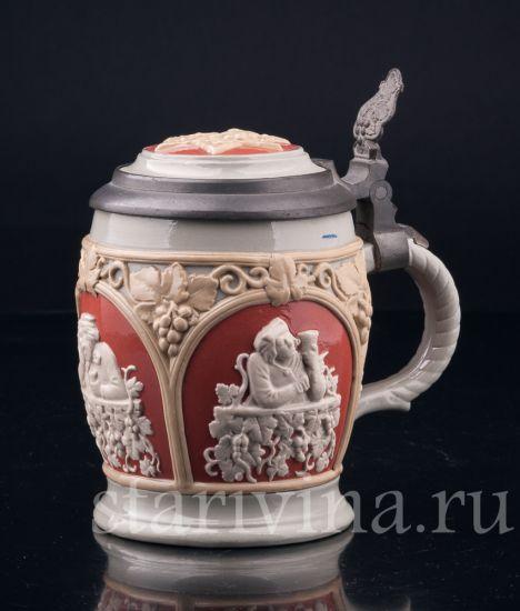 Изображение За стаканчиком вина, 1/2 л, Mettlach, Германия, 1902 г
