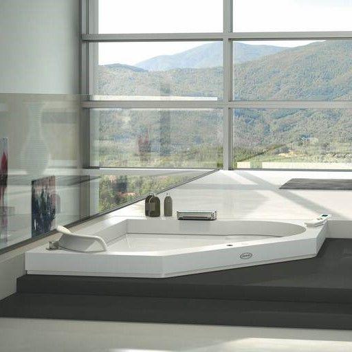 Ванна с подсветкой Jacuzzi Aura Corner 140 Corian 144x144 ФОТО