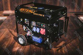 Бензогенератор Shtenli 8900 PRO S  (6,5кВт эл. стартер,колеса, ручки. 220 и 380 V , 8 и 12а, экран)