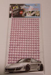 `Полубусины на листе, самоклеящиеся, диаметр 6 мм, цвет розовый
