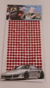 `Полубусины на листе, самоклеящиеся, диаметр 6 мм, цвет красный