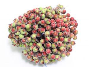 `Ягоды в сахарной обсыпке 12 мм (длина 16см), цвет зелено-красный, 1 веточка=2 ягодки