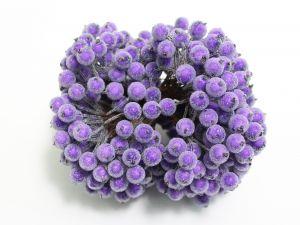 `Ягоды в сахарной обсыпке 12 мм (длина 16см), цвет фиолетовый, 1 веточка=2 ягодки