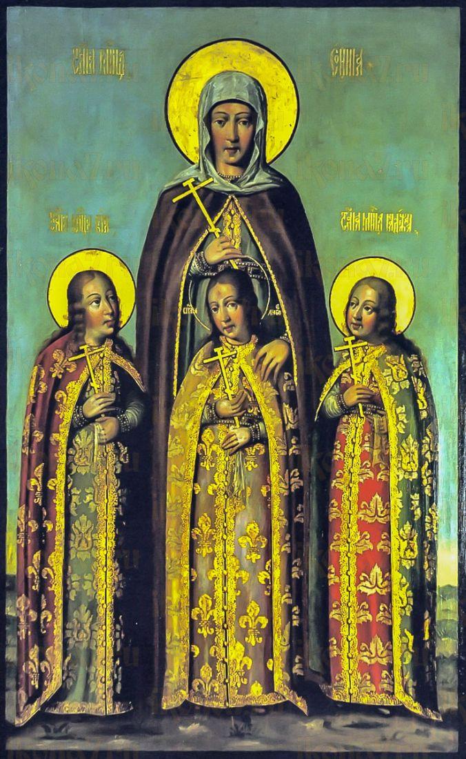Икона Вера, Надежда, Любовь и София (копия старинной)