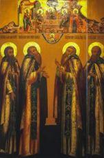 Икона Варлаам, Зосима, Савватий и Савва Соловецкие (копия старинной)