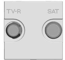 Накл. для TV-R/SAT роз., 2 мод ABB NIE Zenit Серебро