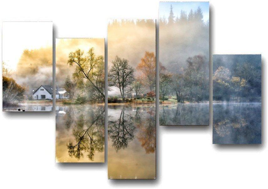 Модульная картина Домик у озера