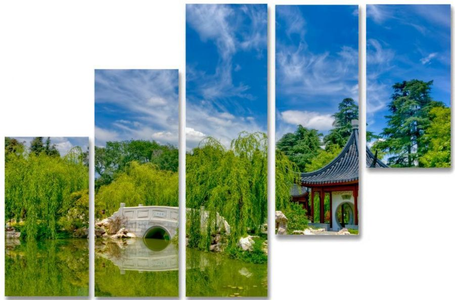 Модульная картина Сад в поднебесной