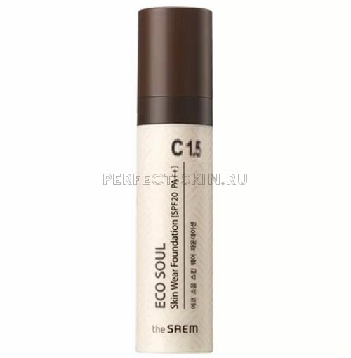 The Saem Eco Soul Skin Wear Foundation C 1.5 Cotton Tone SPF20/PA++ 30ml