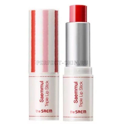 The Saem Lip Saemmul Triple Lipstick 01 Dear Scarlet 4,2g