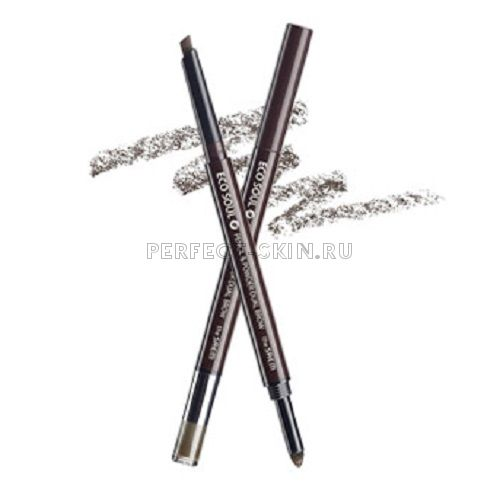 The Saem Eye - Eco Soul Pencil Powder Dual Brow 02.Deep Brown 0,5*0,3g