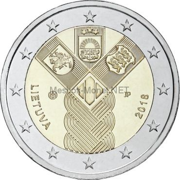 Литва, 2 евро 2018, 100-летие независимости прибалтийских государств