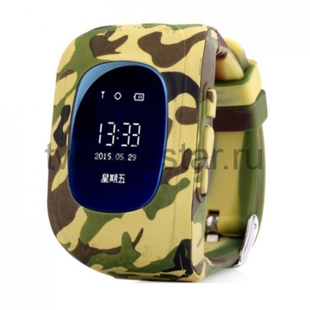 Умные детские часы с GPS Smart Baby Watch Q50 хаки